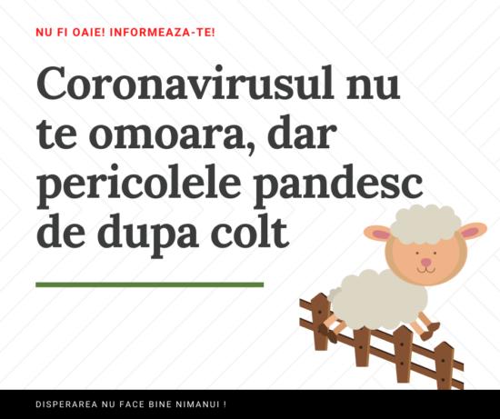 Coronavirusul nu te omoara, dar pericolele pandesc de dupa colt. Nu fi oaie! Nu te panica aiurea!